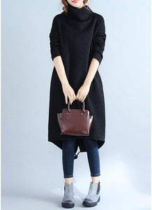 B| Chicloth Fashion Women Casual Loose Turtleneck Solid Color Fleece Sweater Dress