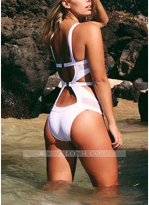 C| Chicloth Halter Neck Hollow Out Backless Women One Piece Swimsuit-chinlon,polyester,onepieceswimsuit-Chicloth