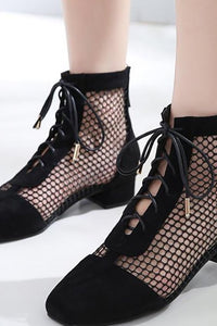 A| Chicloth Mesh See Through Look Black Lace-up Summer Boots-boots-Chicloth