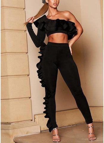 Sexy Two-Piece Set Ruffles Asymmetric One Shoulder Crop Top High Waist Pants Suit Outfits