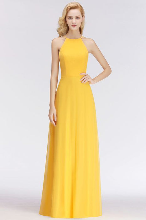 84944f20626d0 Chicloth Sleeveless Fashion Chiffon Sheath Yellow Long Bridesmaids Dresses- Bridesmaid Dress-Chicloth