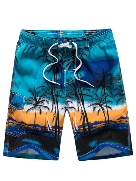 A| Chicloth Coconut Tree Lace Up Men's Swim Beach Board Shorts-Chicloth