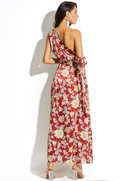 Chicloth One-Shoulder Flower Print Women's Maxi Dress