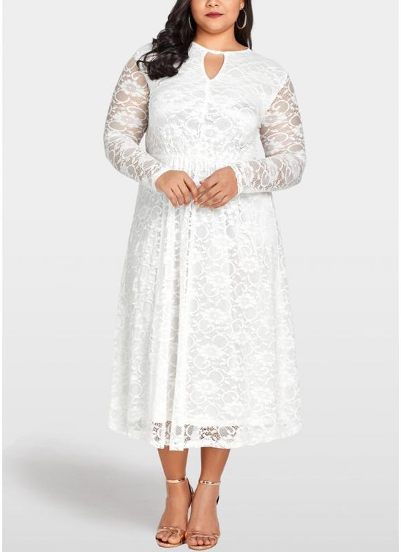 B/ Chicloth Women Plus Size Lace Dress Cut Out Front Evening Party Wedding Dress - White / 4XL