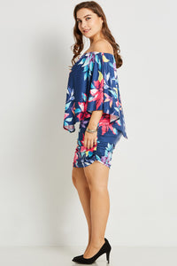 Chicloth Dark Blue Off the Shoulder Print Mini Dress - Chicloth