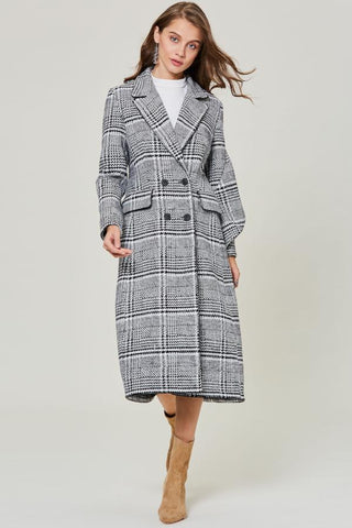 Chicloth Winter Vintage Plaid Double-Breasted Slim Fit Women's Overcoat