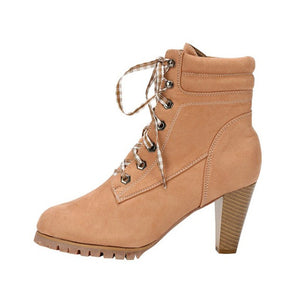 Chunky Heel PU Daily Lace-up Boots