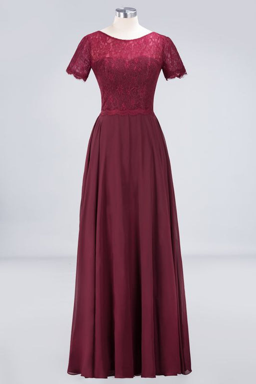 Chicloth A-Line Chiffon Lace Round-Neck Short-Sleeves Floor-Length Bridesmaid Dress-Bridesmaid Dresses-Chicloth