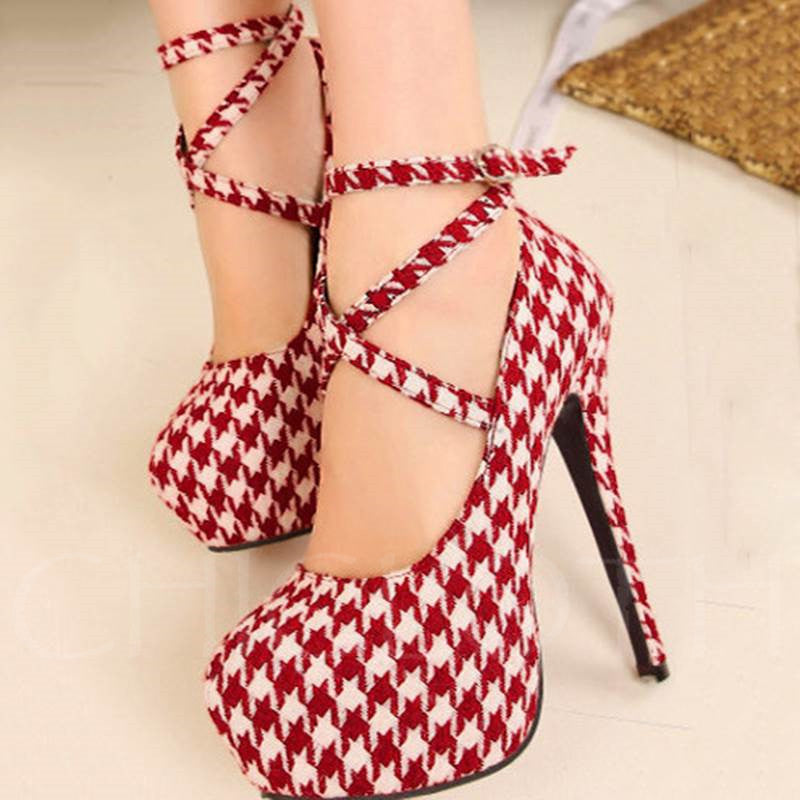a38d85fc697 Chicloth Stiletto Heel High Platform Red Suede Upper Prom Shoes
