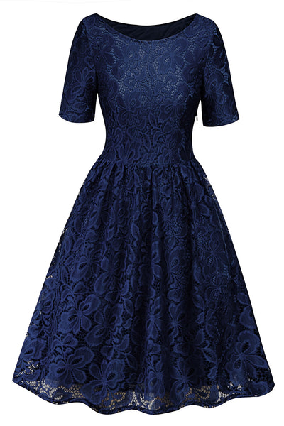 A| Chicloth Women Vintage Lace Crochet Dress Short Sleeve Evening Cocktail Dresses-casual dresses-Chicloth