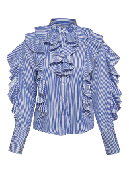 Chicloth Blue Stripe Lotus Leaf Long Sleeve Blouse