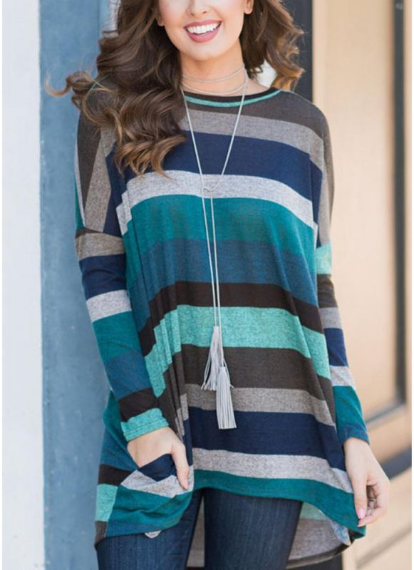B/ Chicloth Women Loose Long Sleeves Color Striped High Low Asymmetrical HemTee - Pool / S