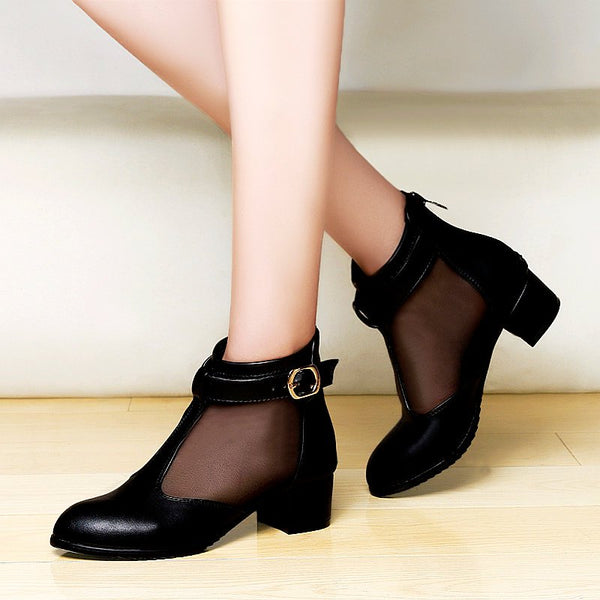 Buckle Pointed Toe Chunky Heel Elegant Boots-Boots-Chicloth