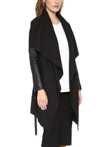 Autumn Winter Women Jacket Coat Large Lapel PU Leather Splice Overcoat Long Sleeve Casual Outerwear Black