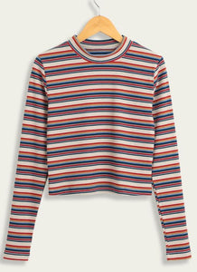 C| Chicloth Women Casual Knitted Cropped Striped Pullover Sweater-knits&sweaters-Chicloth