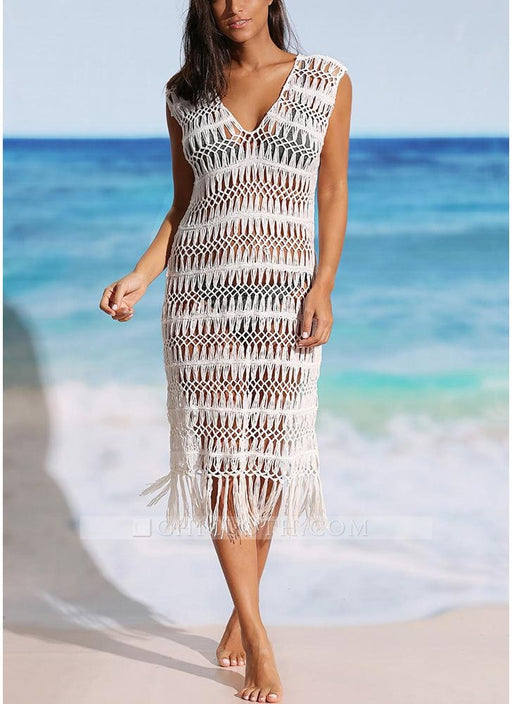 B| Chicloth size Women Hollow Bikini Cover Up Dress Crochet Fringes Tassels Bathing Suit Beachwear-polyester,chinlon,coverup-Chicloth