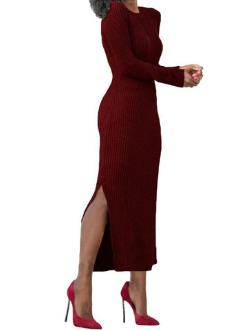 Chicloth Dress Side Splits Rib Maxi Sweater Dress O-Neck Casual Slim Dress