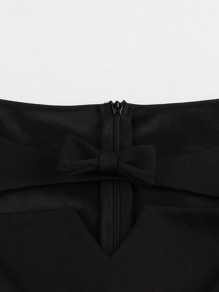 Chicloth Black Silk Wide Long Sleeve Bow Tie Dress