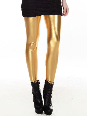 Women Slim Fashion Shiny Metal Golden Leggings