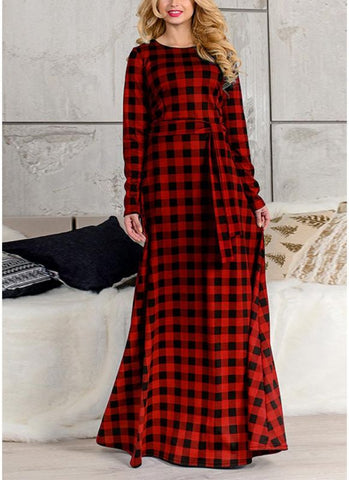 B| Chicloth Plaid Long Sleeve Plus Size Casual Check Tunic Maxi Dress