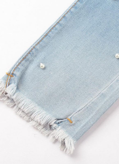 Chicloth Boho Women Washed Denim Beading Faux Pearl Tassel Frayed Zipper Mid Waist Skinny Casual Pencil Jeans-Jeans-Chicloth