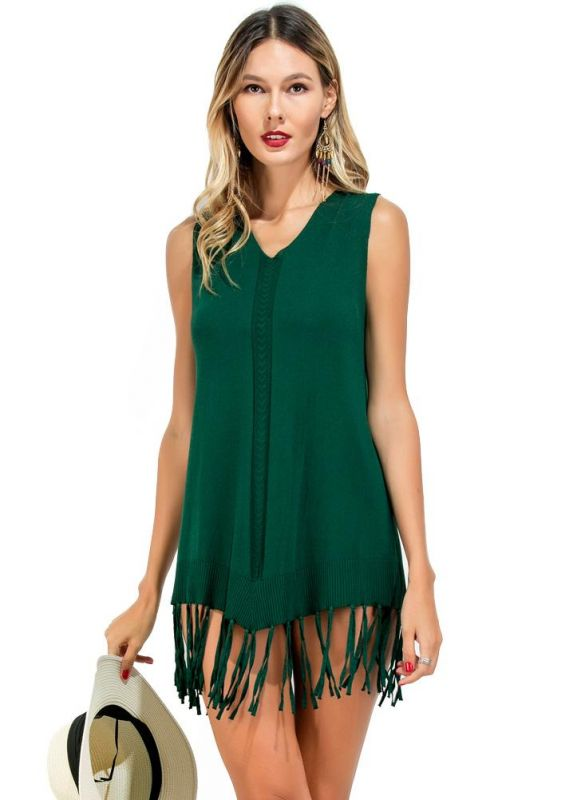 B/ Chicloth size Vintage V Neck Sleeveless Crochet Tassel Ribbed Women's Dress - Green / Free Size Chicuu