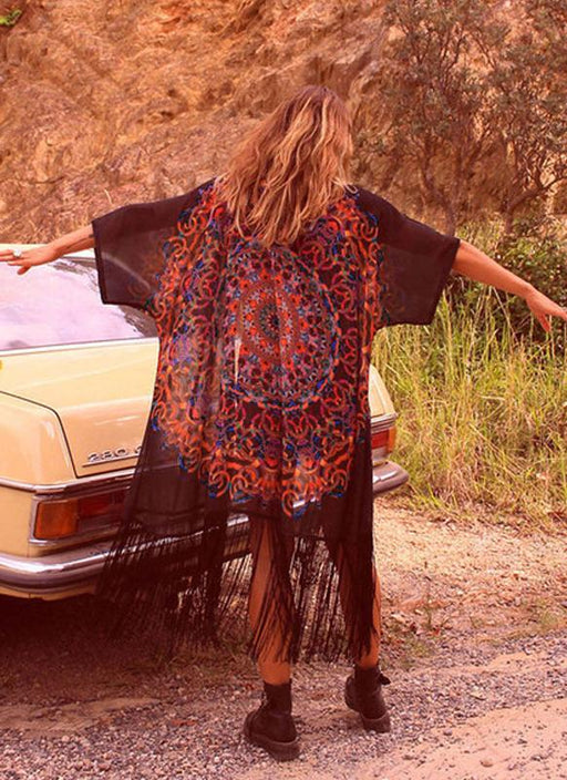 B| Chicloth Chiffon Geometric Print Fringe Loose Long Kimono-chinlon,polyester,coverup-Chicloth