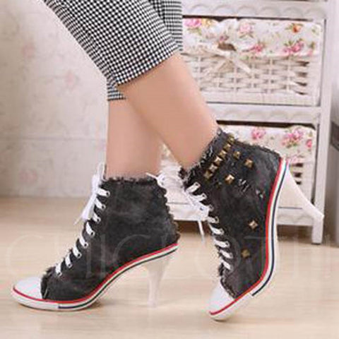 Chicloth Rivet Plain Lace-Up Front Stiletto Heel Round Toe Ankle Women'S Boots