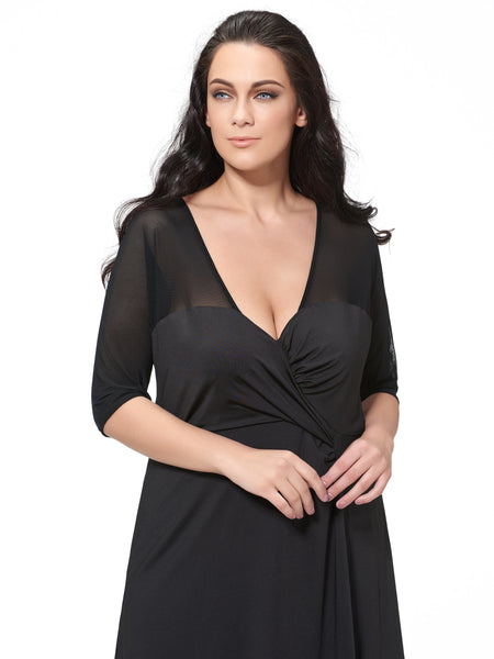 Chicloth black sexy V-collar half sleeve dress