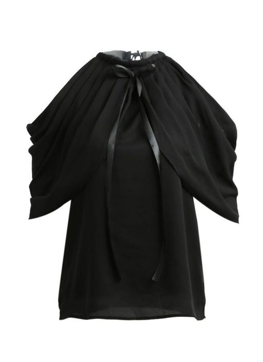 Chicloth Chiffon Off Shoulder Halter Round Neck Bow Ruched Women's Blouse-Plus Size Tops-Chicloth