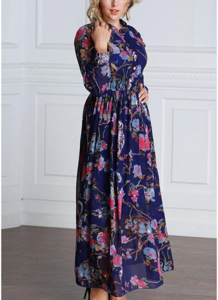 B| Chicloth 6xl Women Floral Button Front Chiffon Long Sleeves Plus Size Dress-polyester,anklelength,jewel,plussizedresses-Chicloth