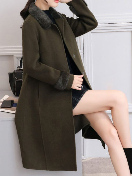 Casual Buttoned Long Sleeve Shirt Collar A-line Pockets Fluffy Coats & Jackets-Coats & Jackets-Chicloth
