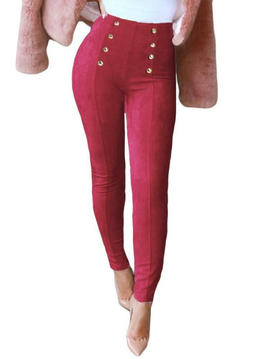 Chicloth Elegant Faux Suede Solid Color Button Side Zipper Women's Leggings-Leggings-Chicloth