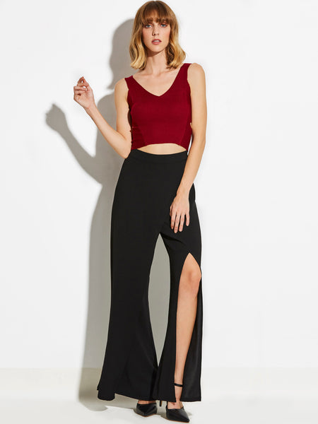 Chicloth Black Wide Leg Exposed High Waist Pants
