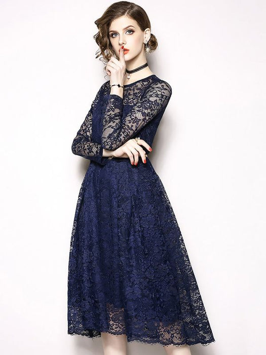 A-line Daily Elegant Guipure lace Prom Dresses-Prom Dresses-Chicloth
