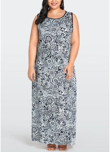 B| Chicloth 2xl Women Plus Size Sleeveless Dress Floral Print O-Neck Maxi Long Dresses-polyester,kneelength,jewel,maxidresses-Chicloth