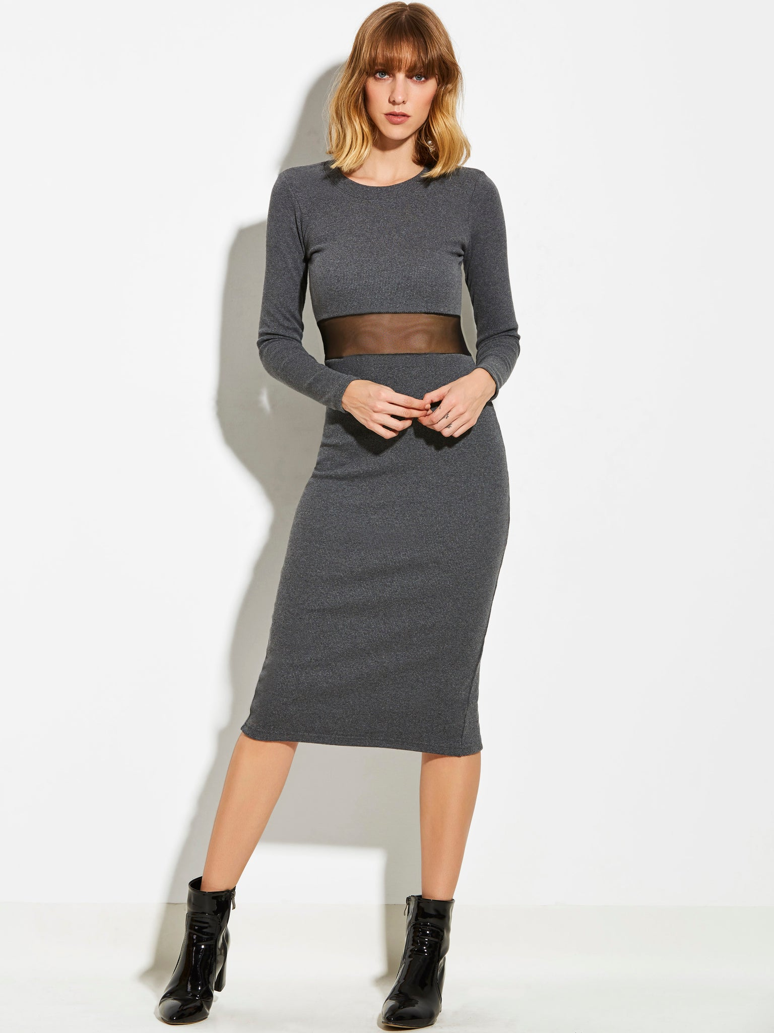 Chicloth Dark Grey Knitted Round Neck Long Sleeve Waist Hollow Dress