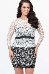 Chicloth Black and White Lace Hollow Belt Bodycon Plus Size Dress - Chicloth