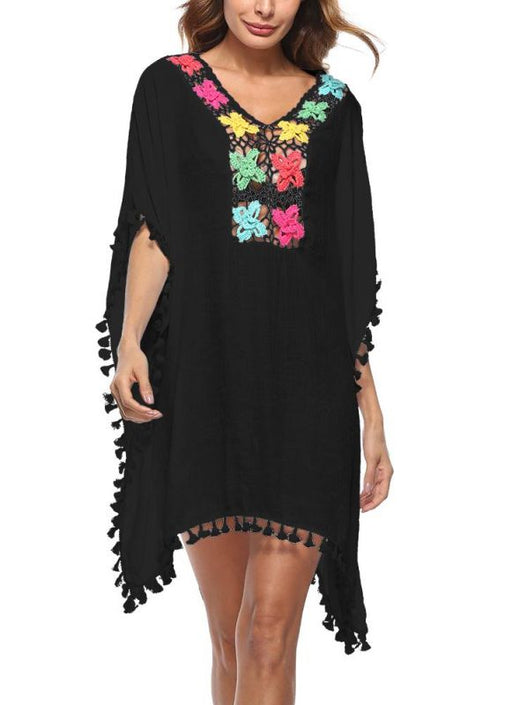 b87116eca8 B| Chicloth Crochet Lace Hollow Out Boho Loose Beach Bikini  Cover-up-polyester