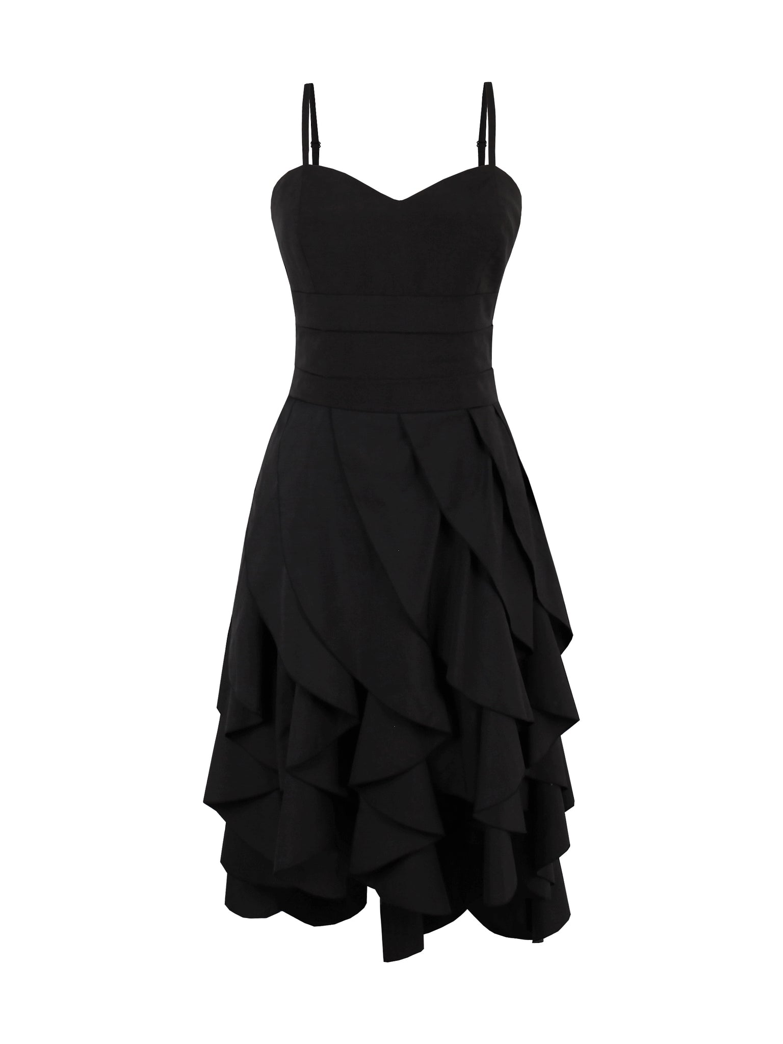 Chicloth Black Thin String Lotus Leaf Dress