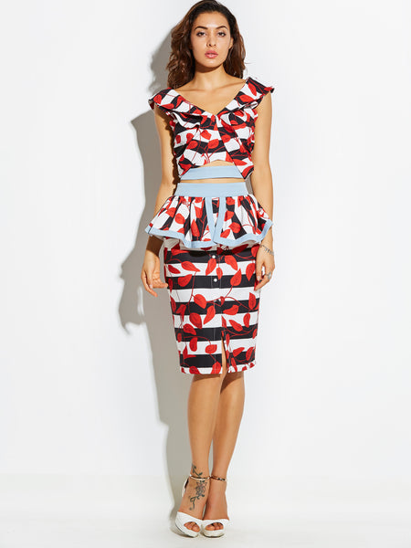 Chicloth black and white stripes red leaves sexy skirt