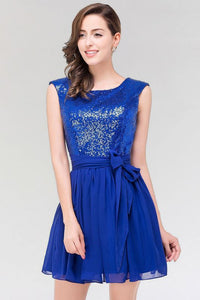 Chicloth A-line Chiffon Square Sleeveless Bow Ruffles Mini Bridesmaid Dress with Sequins-Bridesmaid Dresses-Chicloth