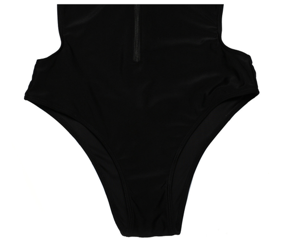 Chicloth Black Zipper Slim One-Piece Swimsuit