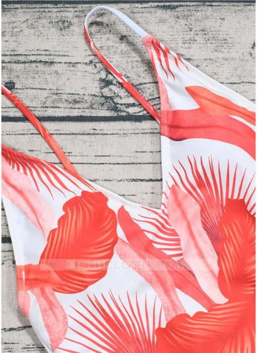 C| Chicloth Leaf Print V Neck Backless Sleeveless One Piece Swimsuit-chinlon,polyester,onepieceswimsuit-Chicloth