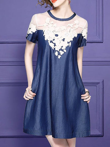 Chicloth Blue Midi Dress Shift Date Dress Short Sleeve Casual Embroidered Plus Size Dresses-Plus Size Dresses-Chicloth