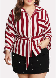 Chicloth Striped Belt Button Front Long Sleeve Shirt-Plus Size Tops-Chicloth