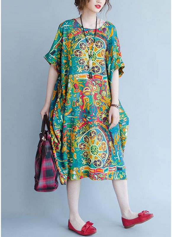 B/ Chicloth Boho Cotton Graffiti Printing Dress Short Sleeve Linen Pockets Midi Dress - Green / 4XL