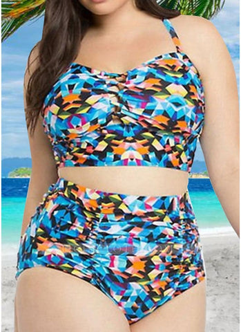 B| Chicloth Contrast Color High Waist Push Up Bikini Set-nylon,polyester,plussizeswimsuit-Chicloth