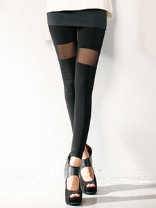 Spring and Fall Slim Sexy Fashion Black Symmetrical Net Yarn Stitching Imitation Leather Cropped Leggings