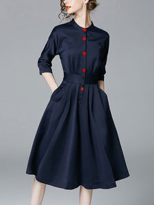 Navy Blue Elegant A-line Stand Collar Half Sleeve Midi Dress